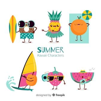 Mão desenhada coleção de personagens de verão kawaii