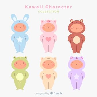 Mão desenhada coleção de personagens disfarçados de kawaii