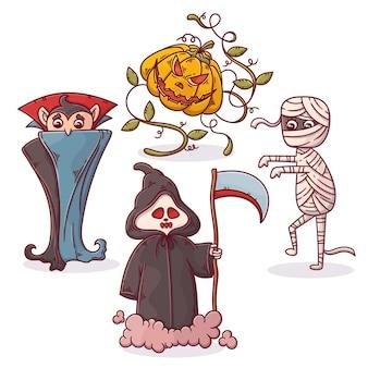 Mão desenhada coleção de personagens do dia das bruxas
