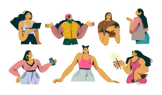 Mão desenhada coleção de personagens fofinhos engraçados