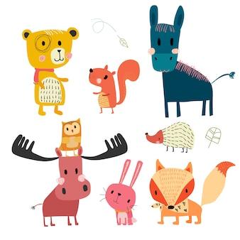 Mão desenhada coleção de personagens fofos de animais selvagens