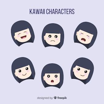 Mão desenhada coleção de rosto encantador personagem