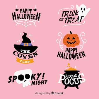Mão desenhada coleção de rótulo assustador de halloween