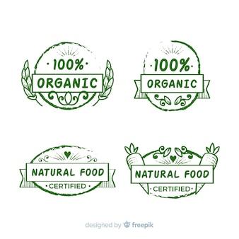 Mão desenhada coleção de rótulo de alimentos orgânicos