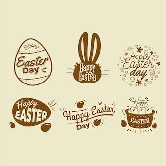 Mão desenhada coleção de rótulo de dia de páscoa