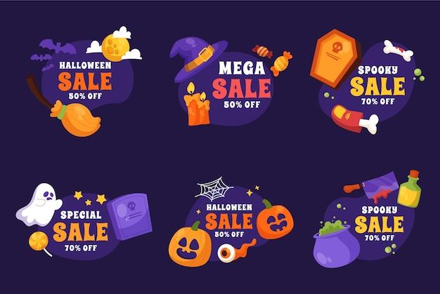 Mão desenhada coleção de rótulos de liquidação de halloween