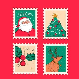 Mão desenhada coleção de selos de natal