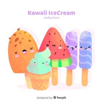 Mão desenhada coleção de sorvete de kawaii