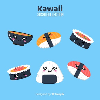 Mão desenhada coleção de sushi encantador