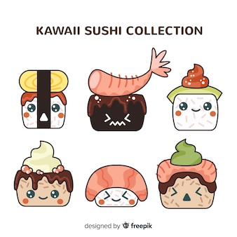 Mão desenhada coleção de sushi kawaii