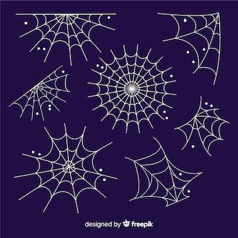 Mão desenhada coleção de teia de aranha de halloween