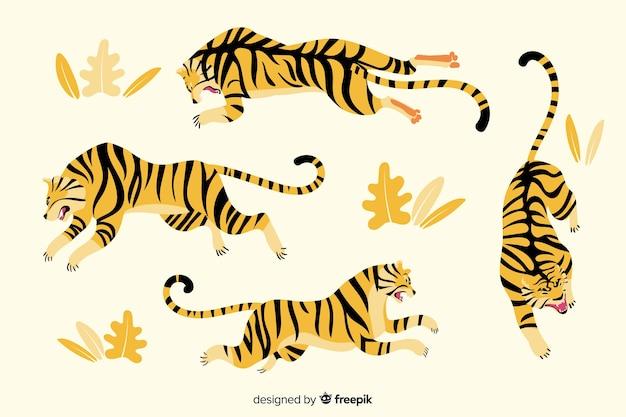 Mão desenhada coleção de tigre de estilo
