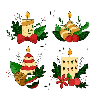 Mão desenhada coleção de velas de natal