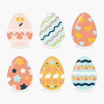 Mão desenhada coleção feliz dia de páscoa de ovos coloridos
