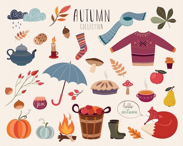 Mão desenhada coleção outonal de elementos decorativos