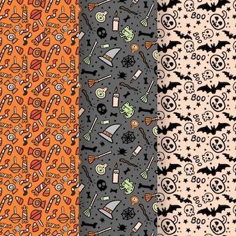 Mão desenhada coleção padrão de halloween