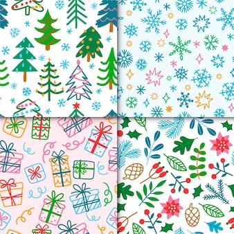Mão desenhada coleção padrão de natal