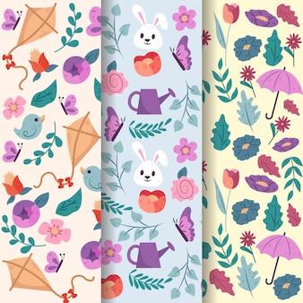 Mão desenhada coleção padrão de primavera com flores e coelhos
