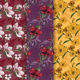Mão desenhada coleção padrão de primavera