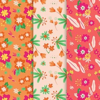 Mão desenhada coleção padrão floral primavera