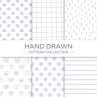 Mão desenhada coleção padrão sem emenda.