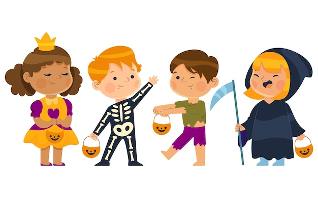 Mão desenhada coleção plana de halloween para crianças