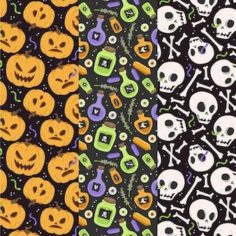 Mão desenhada coleção plana de padrões de halloween