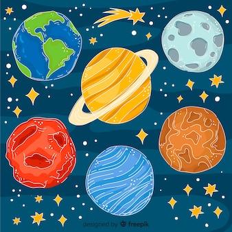 Mão desenhada coleção planeta em estilo doodle