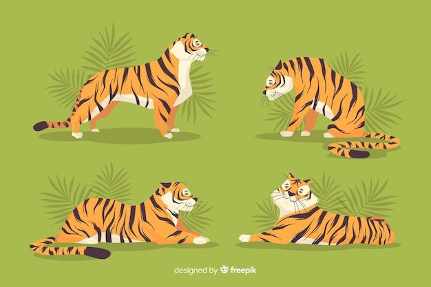 Mão desenhada coleção tigre selvagem