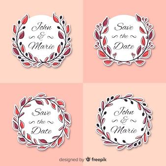 Mão desenhada collectio de logotipo de casamento