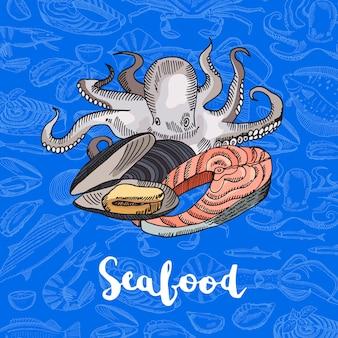 Mão desenhada colorida composição de elementos de frutos do mar no escuro