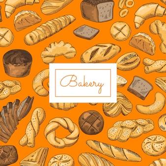 Mão desenhada coloridos elementos de padaria
