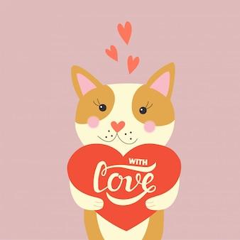 Mão desenhada com cartaz de rotulação de tipografia de amor