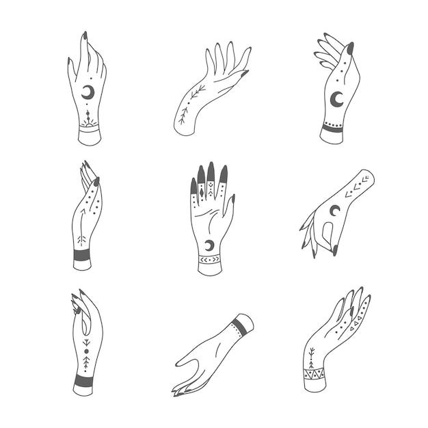 Mão desenhada com mãos místicas e ocultas. astrológico e esotérico.