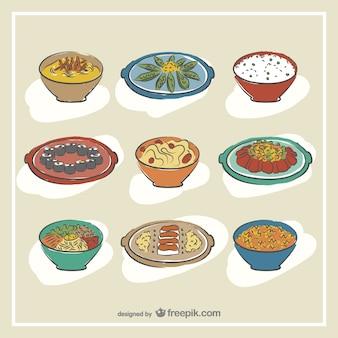 Mão desenhada comida coreana