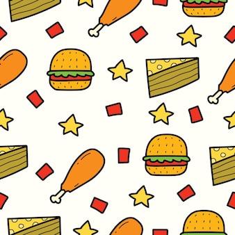 Mão desenhada comida doodle desenho padrão de desenho animado