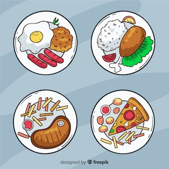 Mão desenhada comida prato coleção