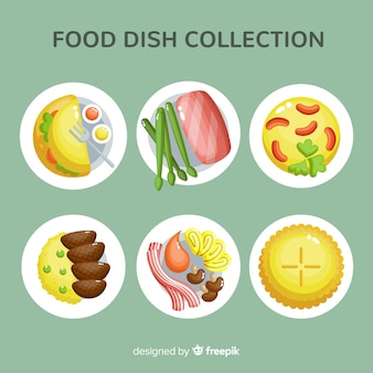 Mão desenhada comida pratos coleção