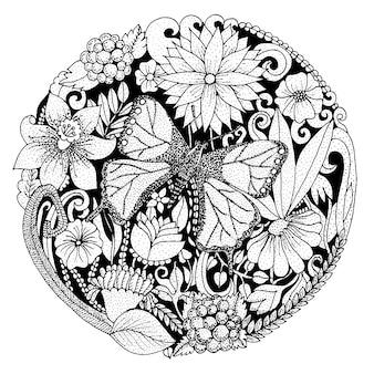 Mão desenhada composição arredondada com flores, borboleta, folhas. design de natureza para relaxar, meditação. ilustração em vetor preto e branco