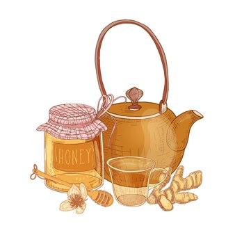 Mão desenhada composição com bule, xícara de chá, frasco de vidro com mel, concha, gengibre isolado no branco