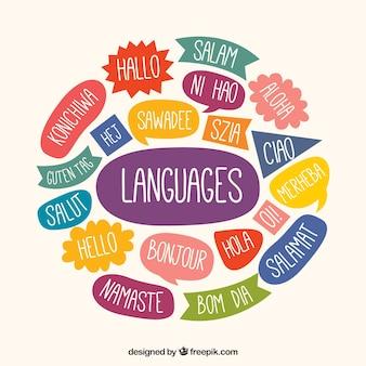 Mão desenhada composição da linguagem