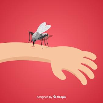 Mão desenhada composição de mosquito mordendo um
