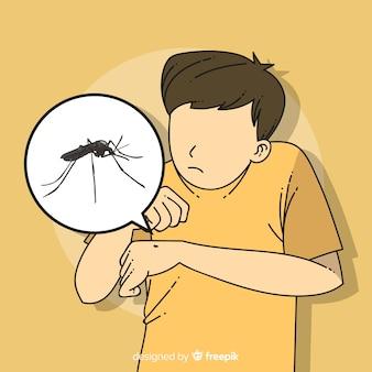 Mão desenhada composição de picada de mosquito