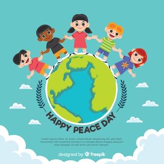 Mão desenhada composição do dia da paz com as crianças de mãos dadas