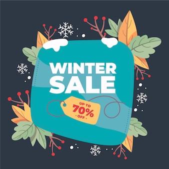 Mão desenhada conceito de banner de venda de inverno