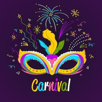 Mão desenhada conceito de carnaval com máscara
