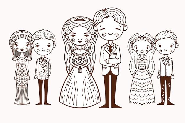 Mão desenhada conceito de casais de casamento