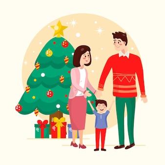 Mão desenhada conceito de cena familiar de natal