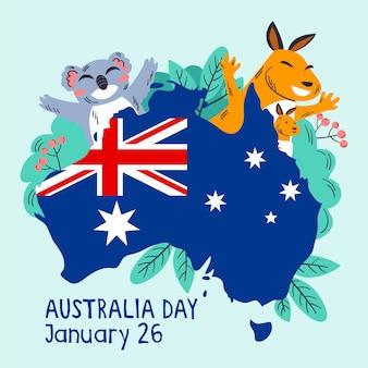 Mão desenhada conceito de dia da austrália