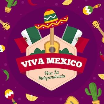 Mão desenhada conceito de dia da independência mexicana